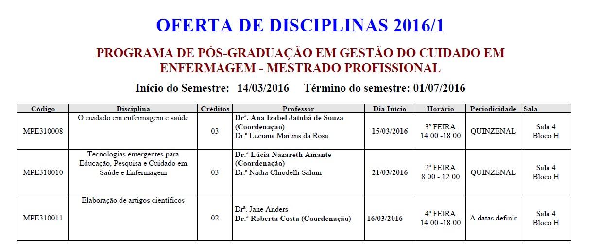 Disciplinas para Alunso Especiais 2016-1